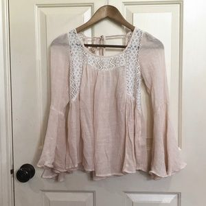 Ivory Blouse with Lace Accent